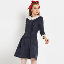Young17 preppy style dresses autumn winter women a line draped belt white  peter pan collar dress women dark blue velvet dress 8ab7b9b39