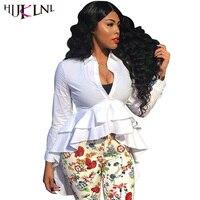 HIJKLNL Women Long Blouse 2017 Autumn Fashion Irregular Ruffles Blouse Shirts White Long Sleeve V Neck