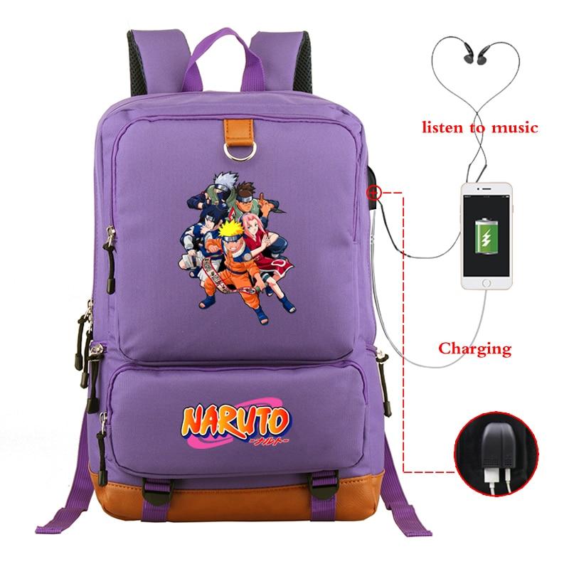 Purple Backpack Men's Backpacks Luminous NARUTO Bagpack Women School Bags Laptop Bag USB Charging Travel Daypack Sac A Dos