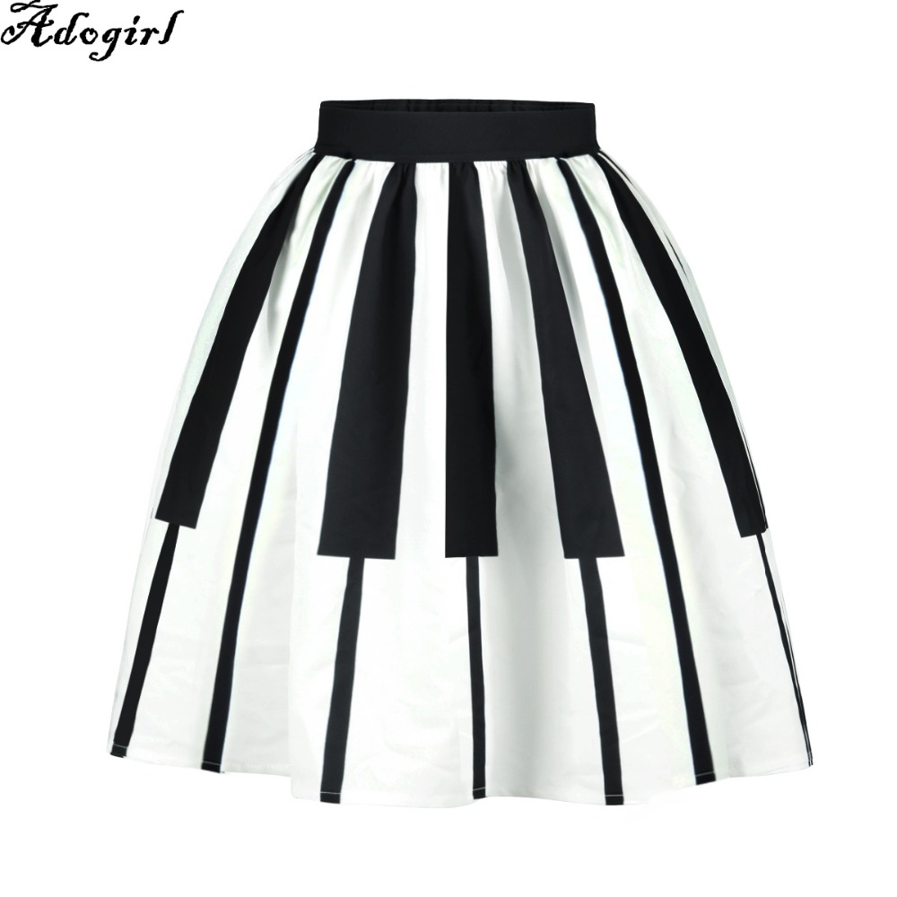 Adogirl Women Pleated Skirts Fashion 3D print Gothic Piano Keyboard Print Ball Gown High Waist Knee Length Casual Female Skirt