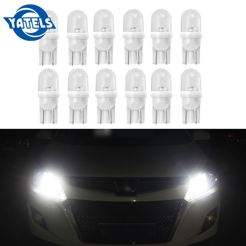 20pcs T10 194 W5W LED Car Parking Light 501 WY5W 1 COB LED Wedge Interior Dome Lamp Auto Turn Side Bulbs License Plate Bulbs 12V