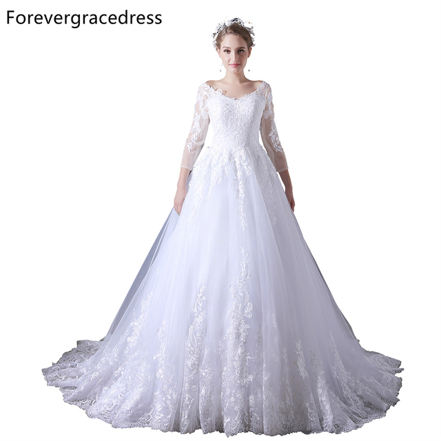 Forevergracedress Cheap Elegant Wedding Dress Gorgeous V Neck Long Sleeves  Lace Bridal Gown Plus Size Custom c765123bc51d