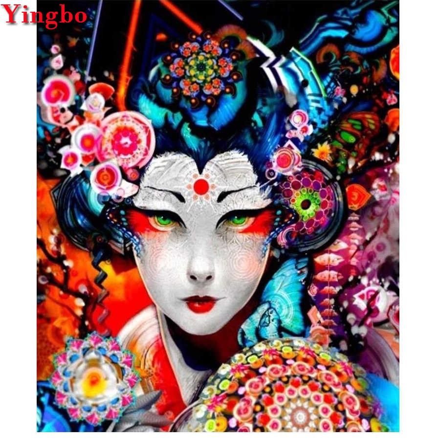 Wanita Jepang Characters-Full-Square-Diamond-Painting-Diamond-Embroidery-5D-drill-Rhinestones-Picture-Christmas Hadiah