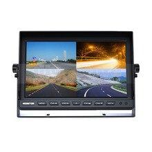 DIYKIT 4CH 4PIN DC12V-24V 10 Дюймов 4 Сплит Quad ЖК-Экран дисплей Цвет Заднего Вида Автомобиля Монитор для Автомобилей Грузовик Автобус Задним Ходом камера