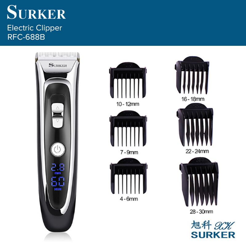 SURKER RFC-688B Rechargeable Hair Clipper Trimmer Digital LED Display Silent Ceramic Knife Fast Charge Haircut Machine EU Plug new surker hc 575 rechargeable silent electric trimmer hair trimmer led display electric fader haircut machine with eu plug