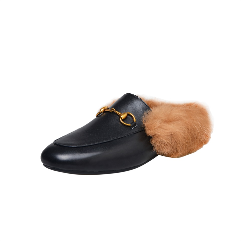 Women Winter Chains Mules Slip On Slides Real Cow Leather Real Fluffy Real Fur Loafer Women Slippers faux fur trim loafer mules