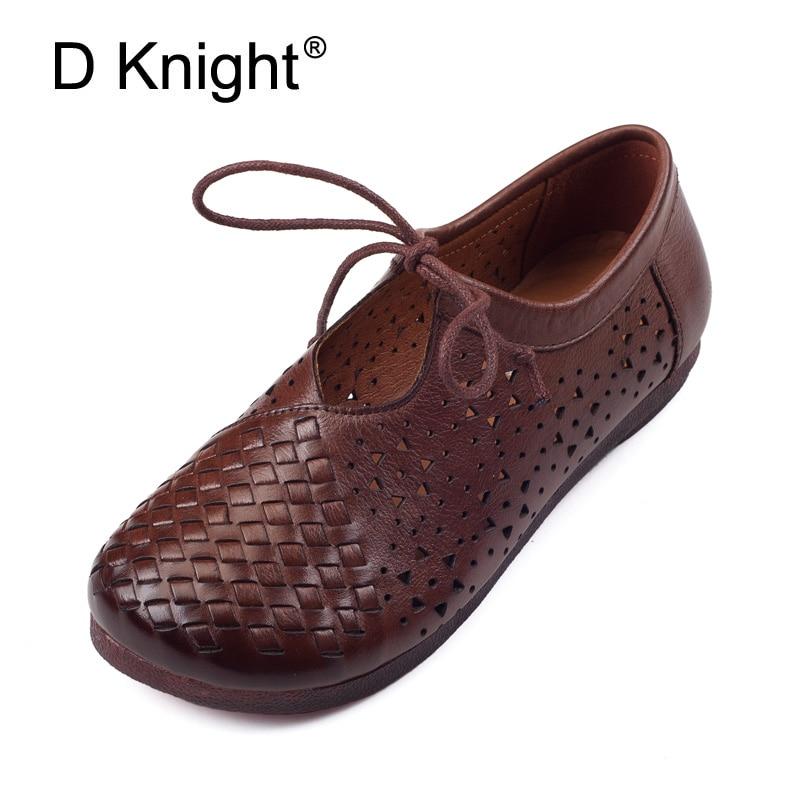 Femmes appartements 2018 été rétro fait à la main respirant plat en cuir de vache trou chaussures confortables femmes sandales à lacets Vintage chaussures