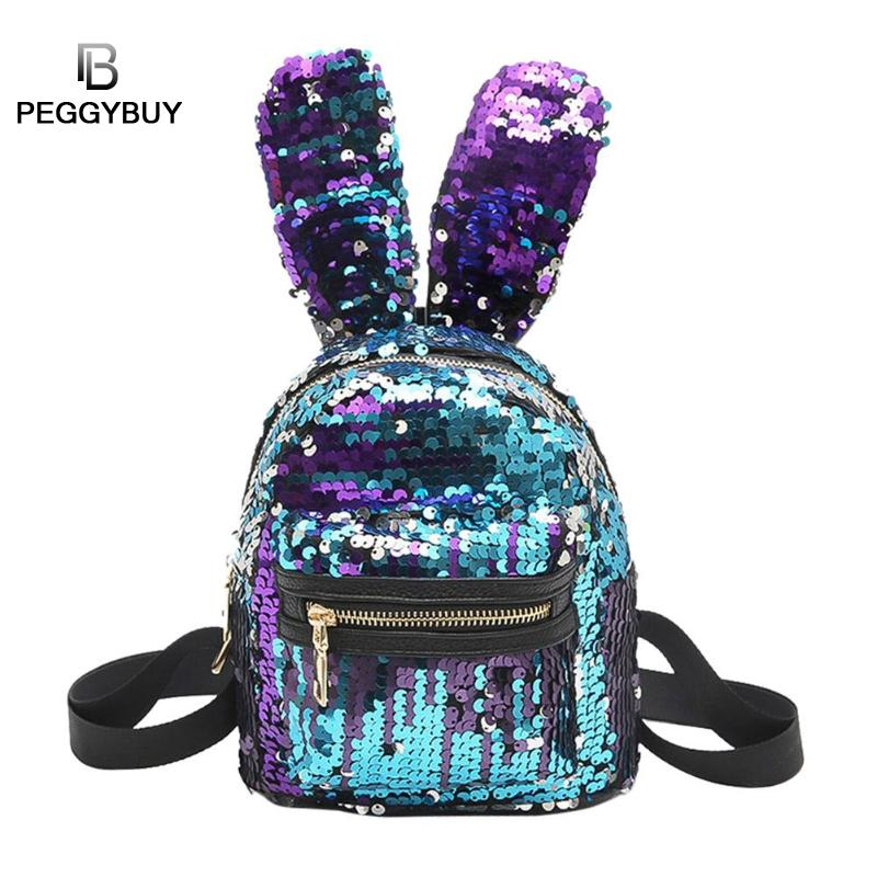 Mini Shining Sequins Backpack Cute Rabbit Ears Double Shoulder Bag for Baby Children Girl Lovely Bling Sequins Small Travel Bag