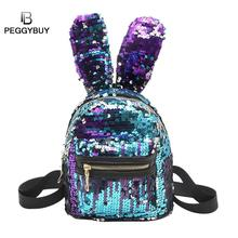 Mini Shining Sequins Rygsæk Cute Kaninører Dobbelt Skuldertaske til Baby Børn Pige Dejlig Bling Sequins Small Travel Bag