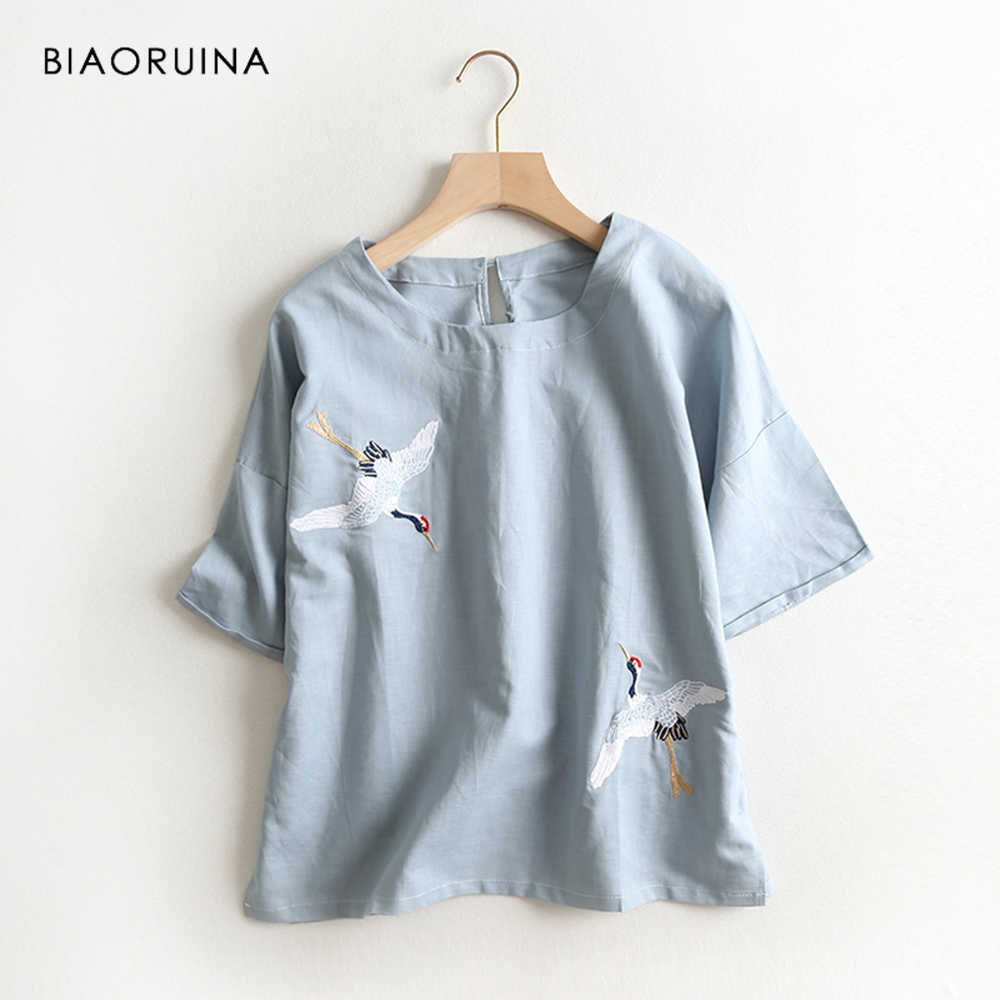BIAORUINA Women Vintage Animal Embroidery Cotton Linen T-shirt Short Sleeve Female O-neck Summer Casual T-shirt Women Tees Tops