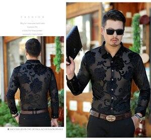 Image 2 - Luxo transparente camisa dos homens bordado floral camisa do laço para o sexo masculino sexy ver através do vestido camisas dos homens clube festa de formatura chemise