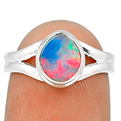 Hand Made Australian Opal Ring 100% 925 Sterling Silver Size: 7.5, AR0403