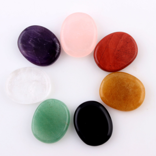 Assorted 7 pieces/lot Natural Palm Stone Amethyst Rose Quartz  Obisidian Crystal Reiki Healing Chakra Aventurine With Free Pouch