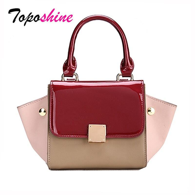 Patent Leather Hit Color Mosaic Bat Handbag Korean New Fashion Personality Wild Casual Shoulder Messenger Messenger Bag