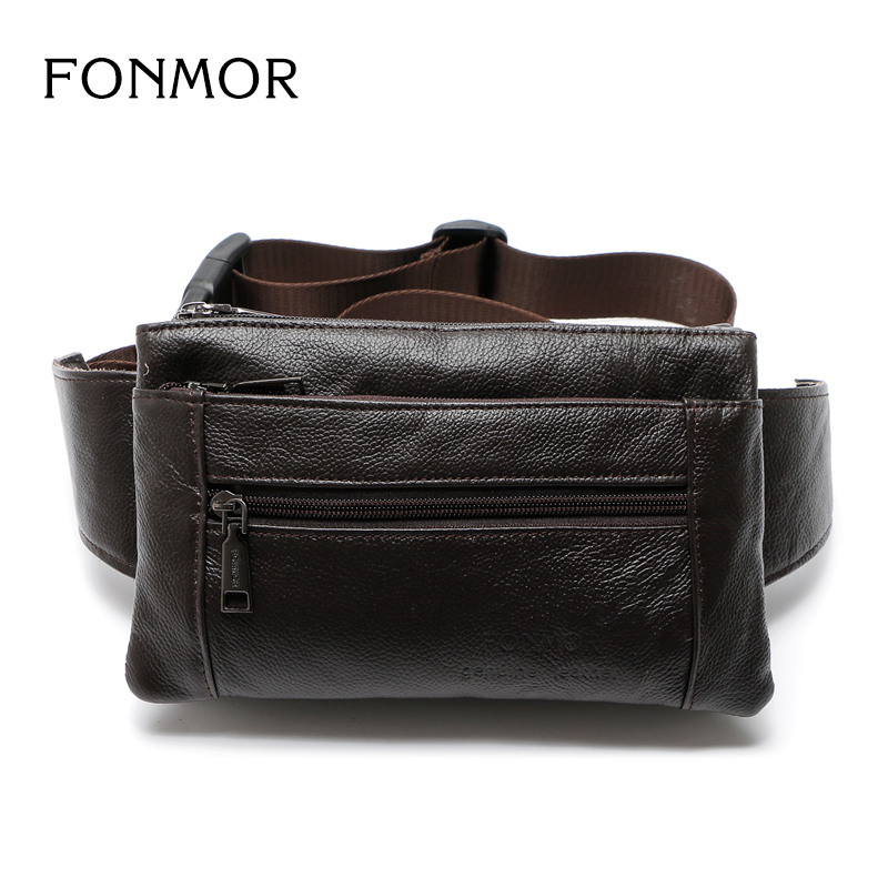 2017 Fashion Genuine Leather Men's Multifunction Travel Bags Funny Chest Pack Men Waist Pack Vintage Men Phone Pouch Waist Bag led star ca 410