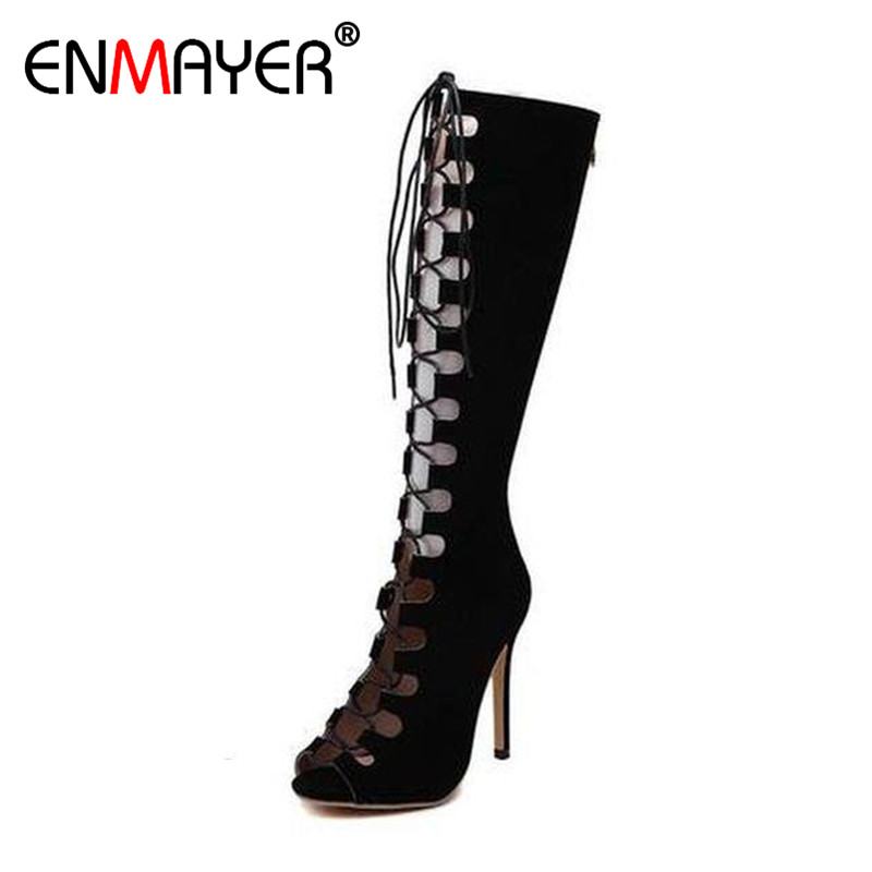 ENMAYER New Women High Heels Fashion Cut-outs Lace-up Knee-High Boots Shoes Woman Summer Peep Toe Sandals Boots Black Shoes 2016 new arrive summer boots fashion peep toe thick high heels women boots cut outs platform shoes woman ankle boots for women