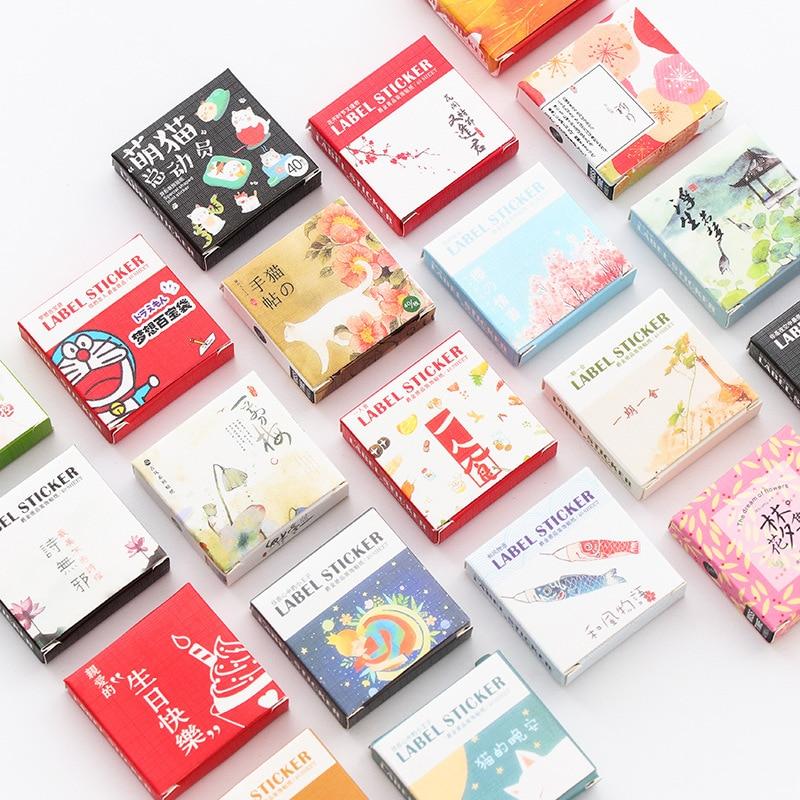 40 pcs/pack Cute Creative Box Package Decorative Sticker Set Diary Album Label Sticker DIY Stationer