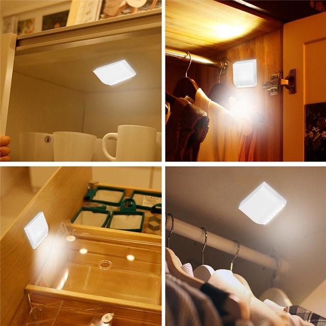 Led Cabinet Light PIR Motion Sensor 7 Leds Night Lamps Battery Intelligent LED Night Light Motion Sensor Wardrobe Drawer Bedroom