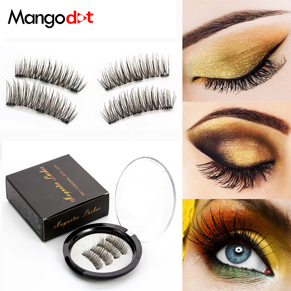 Mangodot Magnetic eyelashes with 3 magnet handmade 3D/6D magnetic lashes natural false fake cilios 24P-3