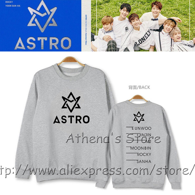 US $35 99 |100% Cotton 2016 k pop ASTRO all members name Sweatshirt Astro  South Korea idol Pullover Album Summer Vibes Hoodie Jumper EUNWOO-in  Hoodies