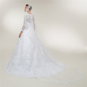 Image 3 - Fansmile Long Sleeves Lace Vestido De Noiva Wedding Dresses 2020 Train Custom made Plus Size Wedding Gowns FSM 403T