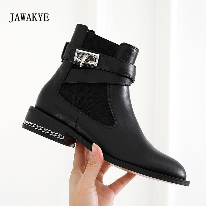 2017 Newest Shark Lock Chelsea Boots Woman Round Toe Black Real Leather Martin Boots Women Fashion Silver Chain Ankle Boots  2017 Newest Shark Lock Chelsea Boots Woman Round Toe Black Real Leather Martin Boots Women Fashion Silver Chain Ankle Boots