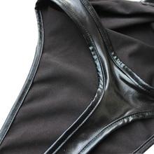 Faux Leather One-piece Thong Bodysuit Leotard Lingerie