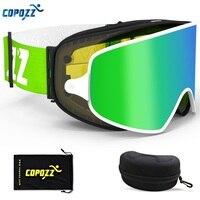 COPOZZ 2 In 1 Ski Goggles With Original Case Double Lenses For Night Skiing Anti Fog