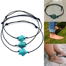 Vintage Green Stone Turtle Rope Ankle Bracelets Women Chain Foot Anklets(China)