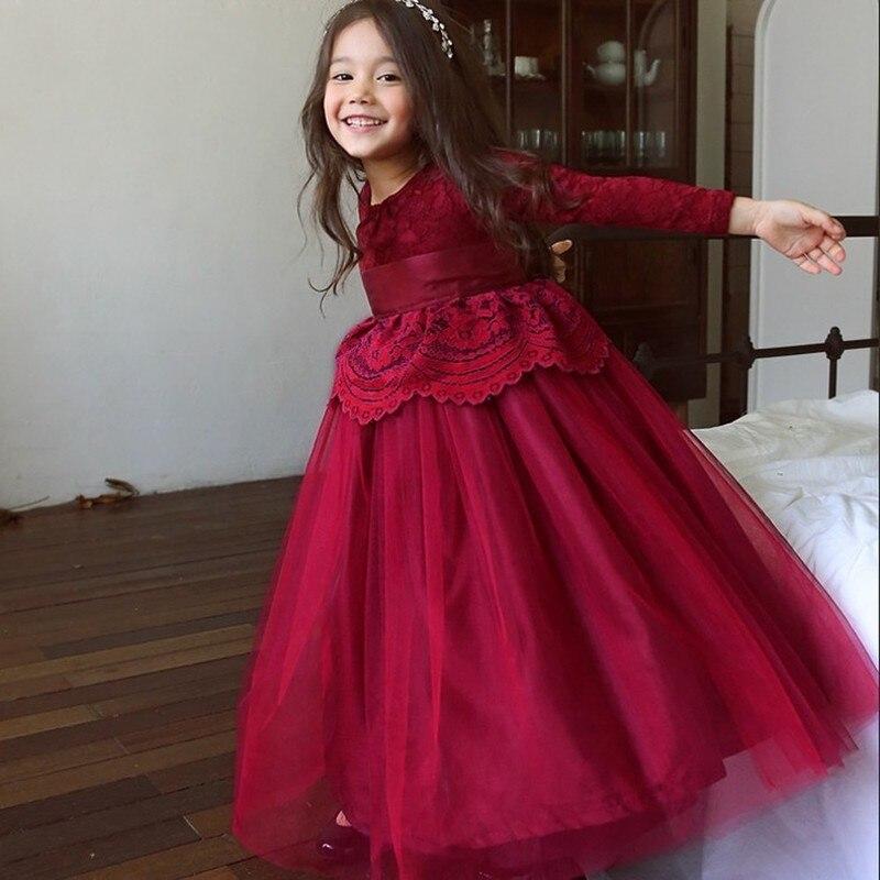 Кружевное платье высокого качества для девочек с длинным рукавом Детское платье с поясом От 2 до 13 лет бальное для девочек вечерние Платье принцессы для маленьких девочек CA496 купить на AliExpress