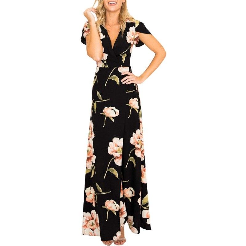 Boho Chiffon V Neck High Waist Floral Print Irregular Beach Dress Sexy Split New