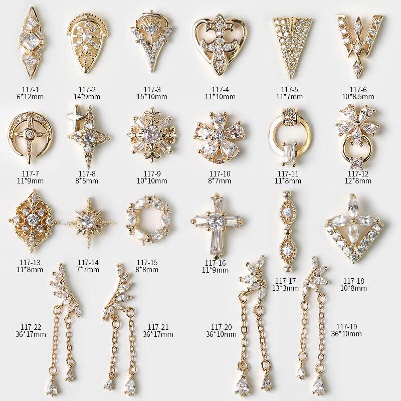 Latest 2 pieces alloy Zircon Nail art decoration luxury zircon rhinestone tassel / heart / wing nail jewelry high end long nail(China)