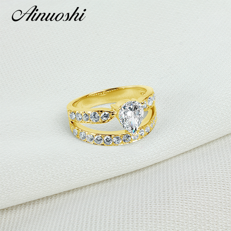 04bb4682fc0ee8 AINUOSHI 10 k Yellow Gold Stałe Pierścionek zaręczynowy 2 Rzędy Genialny  Symulowane Diamentowa Biżuteria 1 ct Pear Cut NSCD Kobiet obrączki