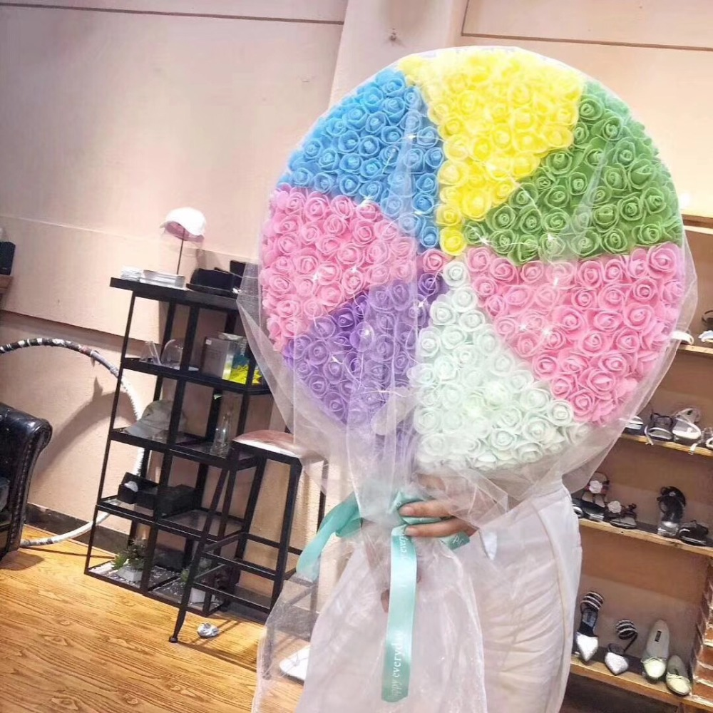 68*40cm*10cm Giant rainbow lollipop PE immortal flowers roses hold flowers Valentine's Day bouquet, Tanabata birthday gift
