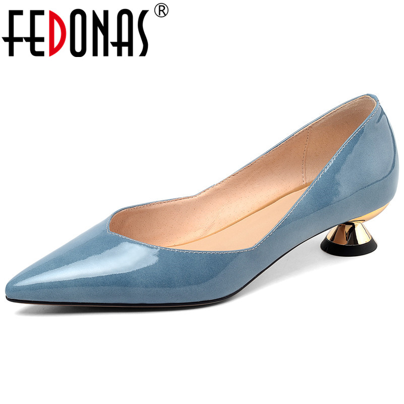 FEDONAS Fashion 2019 New Arrival Pumps For Woman Concise Sexy Middle Heels Cow Patent Leather Prom