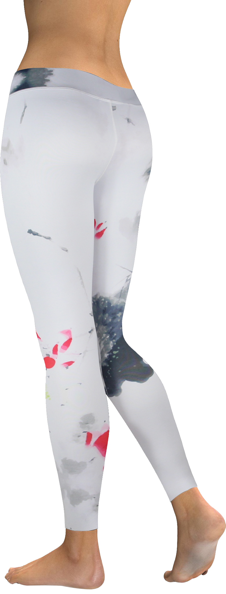 High waistband white ink watercolor legging (3)