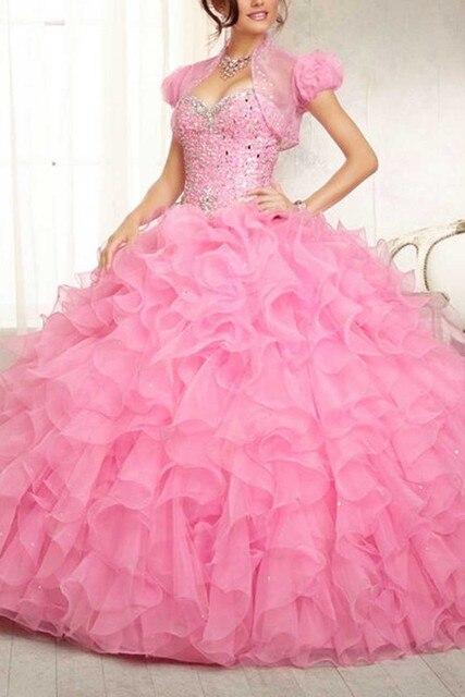 Rosa Organza vestido de baile Vestidos Quinceanera por 15 anos princesa querida 2017 vestidos de 15 años Luxo Cristal Prom Vestidos