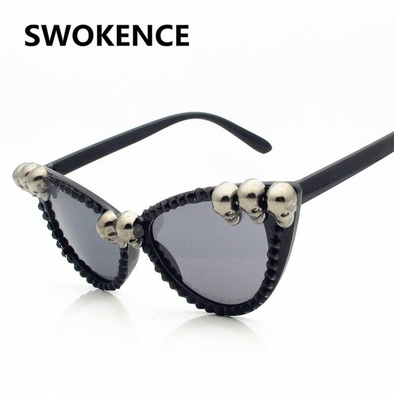 a3d2e43858 SWOKENCE Skull Frame Cat Eye Sunglasses Men Women Cool Black Rhinestone Sun  Shades Halloween Party Ball
