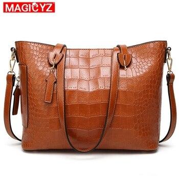MAGICYZ Vrouwen Beroemde merk designer Luxe lederen handtassen vrouwen messenger bag Dames schoudertassen Crossbody krokodil tas