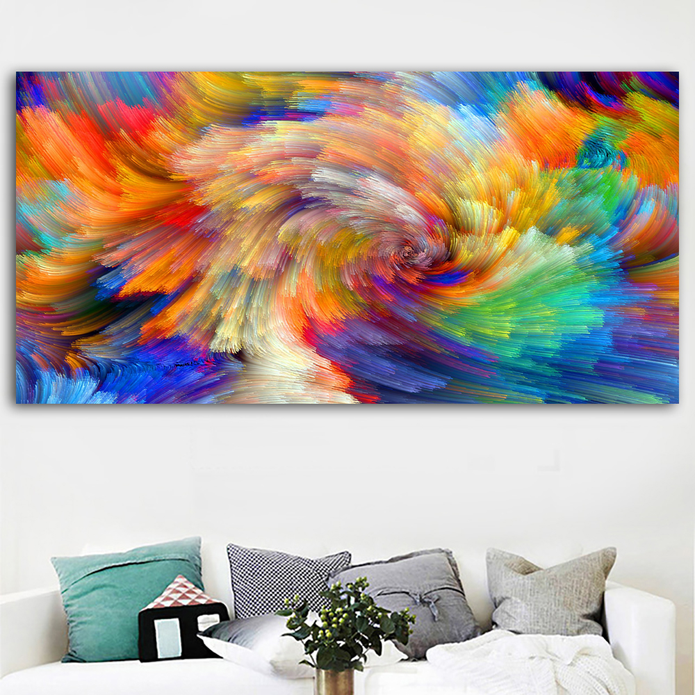 Splash Colorful Room Wall: SELFLESSLY Rainbow Pattern Color Splash Oil Painting On
