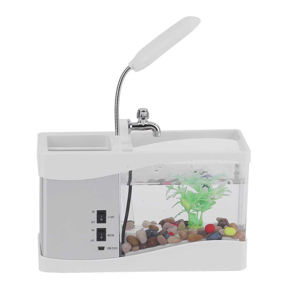 China aquarium fish tank price - 2017 Multi Functional Led Electronic Aquarium Mini Fish Tank Lamp Desktop Usb Rechargeable Aquarium Led