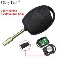 Okeytech 3 Pulsanti Remote key 315/433 Mhz 4D60 Chip transponder Chip carbonio Per Ford Mondeo Fiesta C-MAX Fusion con il Circuito Integrato 60