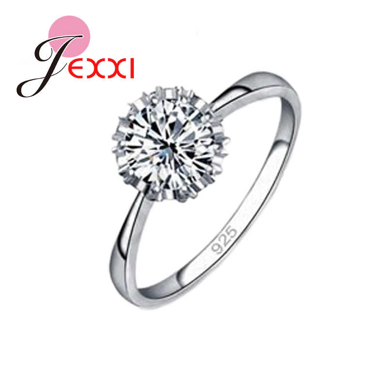 High Quality 925 Sterling Silver Jewelry Classic Engagement Ring 4 Size AAA CZ  Ring Jewelry For Woman Free Shipping