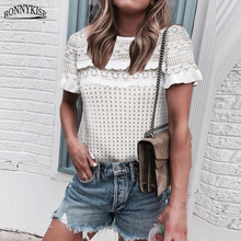 RONNYKISE Hollow Out Knitted Sweaters Women Fashion Short Sleeve O-neck Casual Loose White Sweater Pullovers