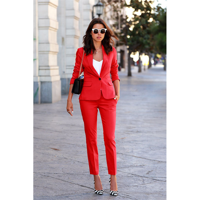 Custom Made Red Womens Tailored Suits Formal Business Work Wear Ladies 2 Piece Suit Womens Blazer-in Pant Suits from Women's Clothing    1