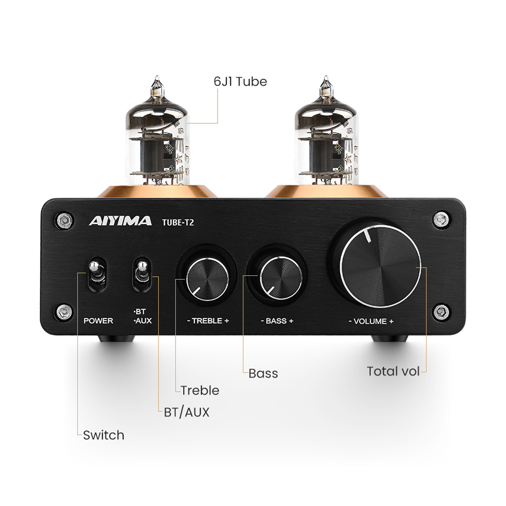 AIYIMA Bluetooth 5.0 HiFi 6J1 Vacuum Tube Preamp Amplifier Stereo Preamplifier With Treble Bass Control For Home Sound Theater