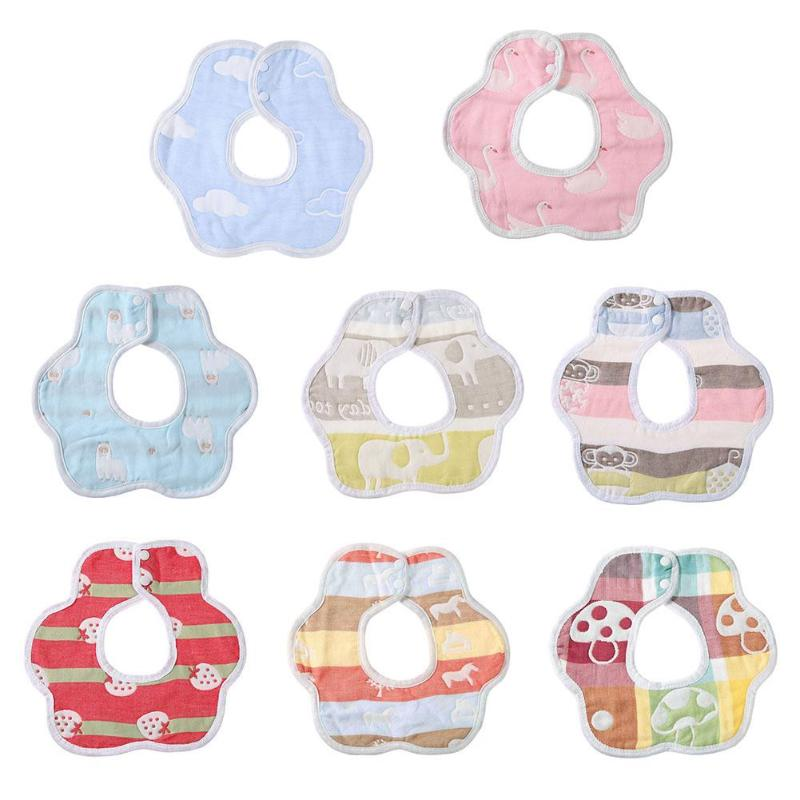 Round Cartoon Cotton Bibs Burp Cloth 360 Degree Newborn Baby Feeding Bib