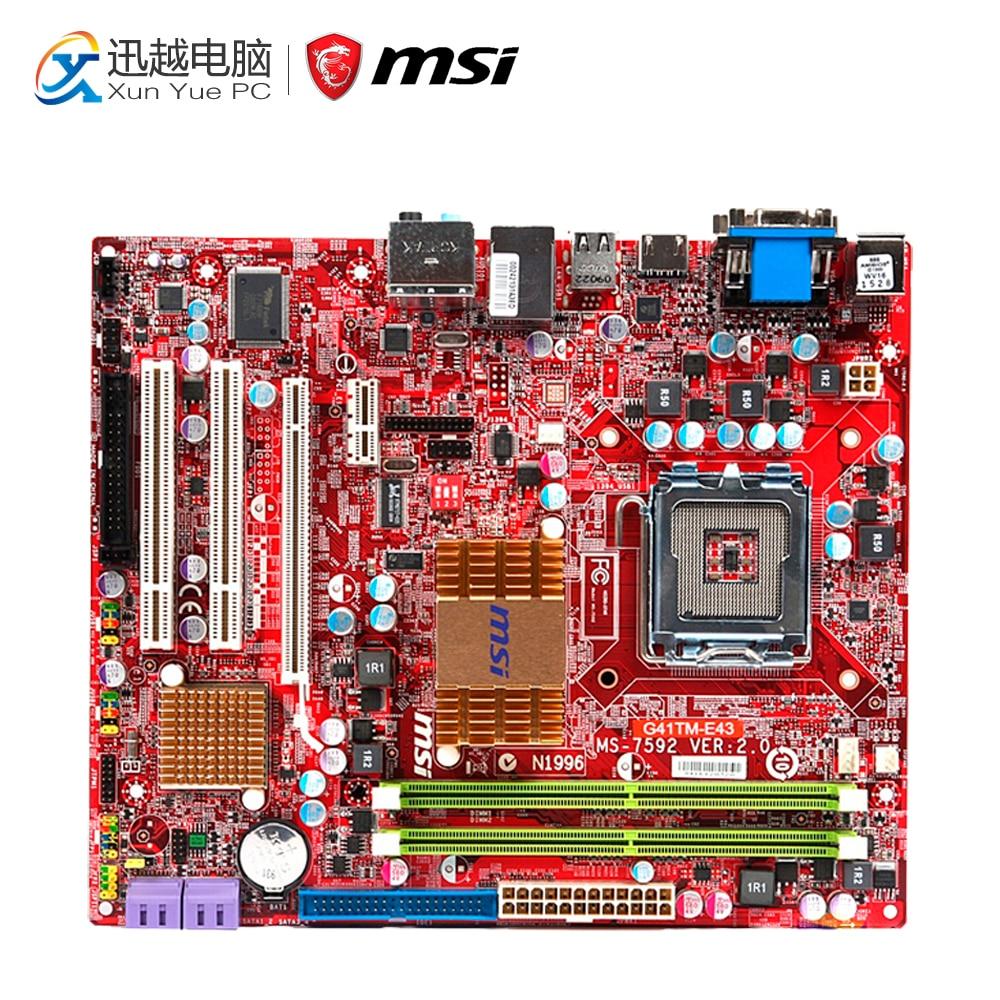 MSI G41TM-E43 Desktop Motherboard G41 Socket LGA 775 DDR2 8G SATA2 USB2.0 Micro-ATX free shipping original motherboard for msi g41tm e43 lga 775 ddr2 8gb fully integrated vga dvi hdmi desktop motherboard