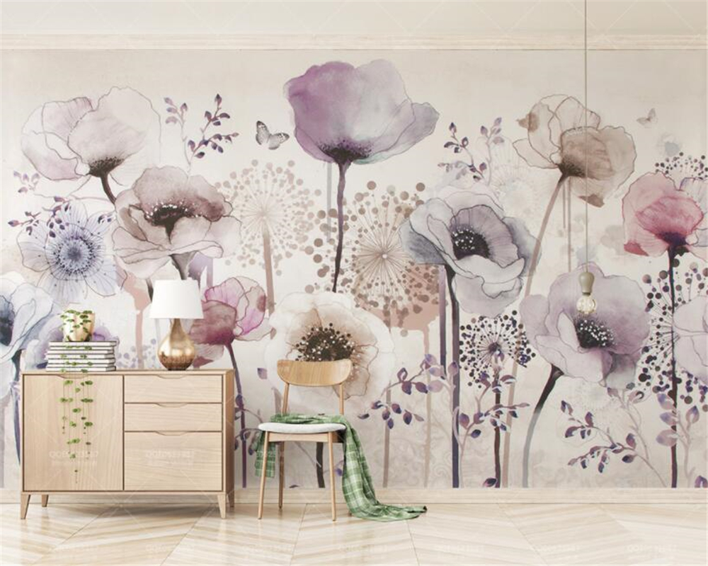 Beibehang Custom Photo Wallpaper Mural Watercolor Hand Painted Style Lavender Flower TV Background Wall 3d wallpaper papel tapiz beibehang custom photo floor painted