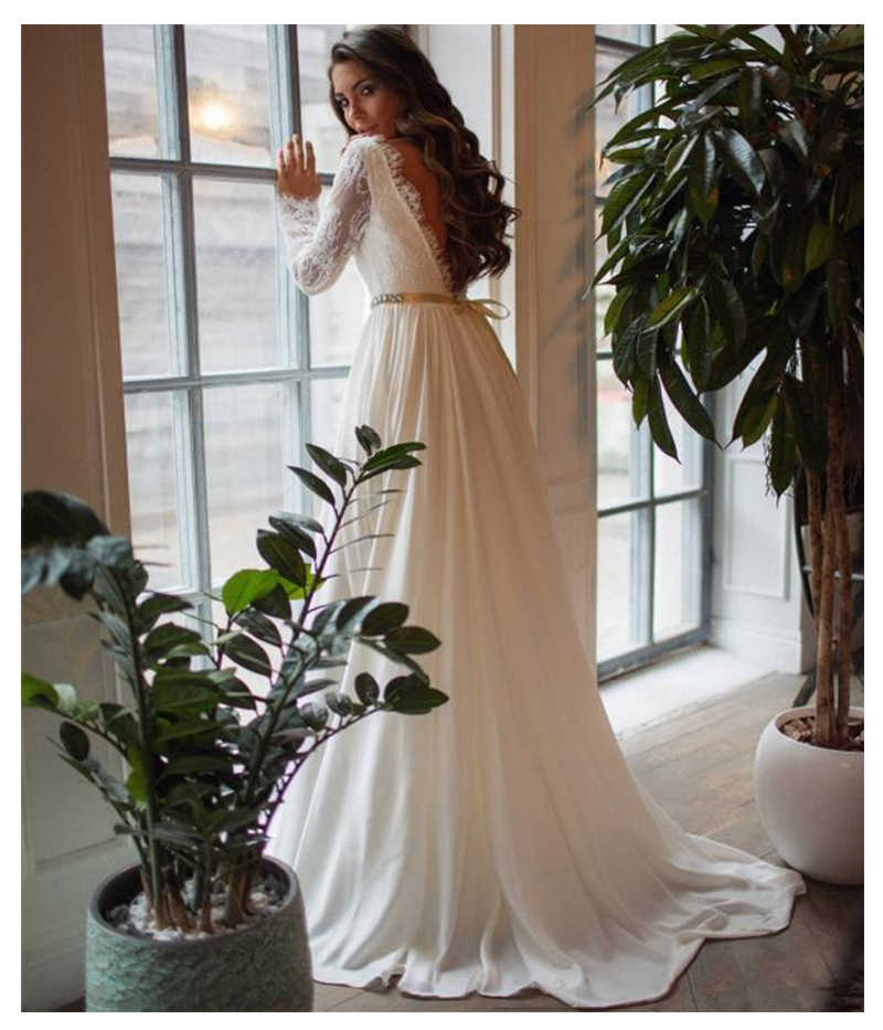 2019 Lace Wedding Dresses Long Sleeves Lace Bride Wedding Gowns Elegant Train White Wedding Gowns Custom Made